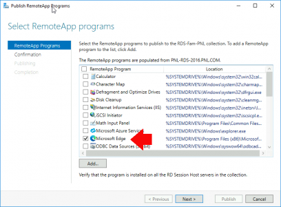 RemoteApp Microsoft Edge