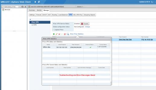 Edge Gateway Troubleshoot VPN