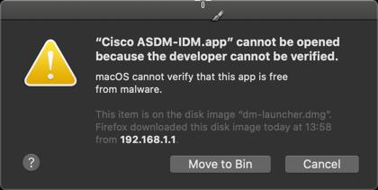 ASDM developer cannot be verified