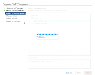 OVF Stuck Validating