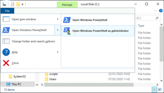 Launch Administrative PowerShell From Windows Explorer