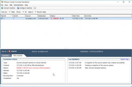VMWare Converter Error IO