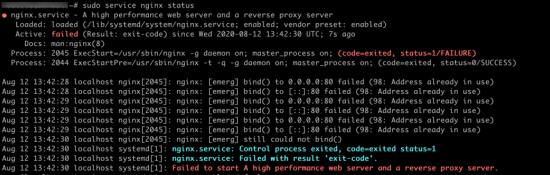 NGINX Wont Start - Address already in use