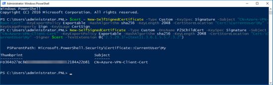 Azure Generate VPN Certificates