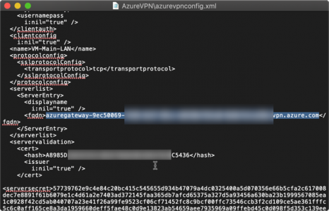 macosx Cilient VPN to Azure server name