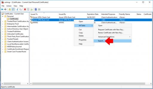 Export Azure Root VPN Certificates