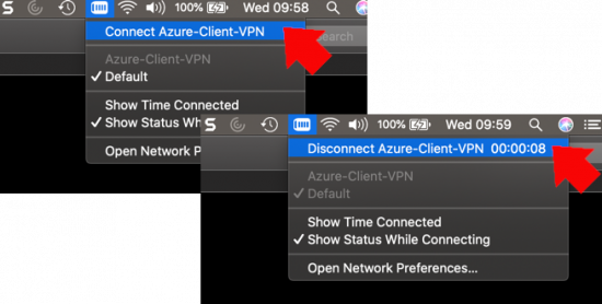 mac Azure VPN Connect and Disconnect