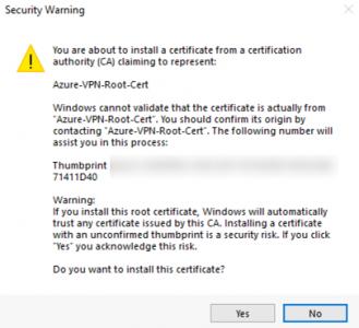 Azure Deploy VPN Client Cetiificate Warning