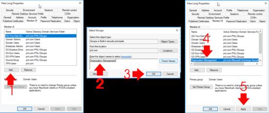 Add User To Exchange Organizationla Managment