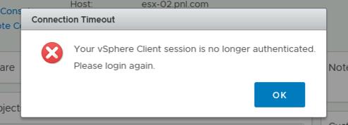 vSphere HTML5 Timeout Error