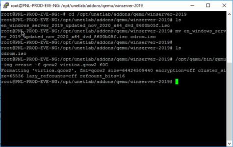 EVE-NG Create hard disk windows server