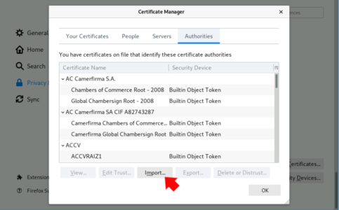 Firefox View Import CA Certificates