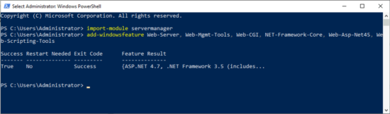 Install IIS with PowerShell
