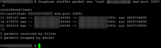 Fortigate Testing Port Forwarding with packet sniffer