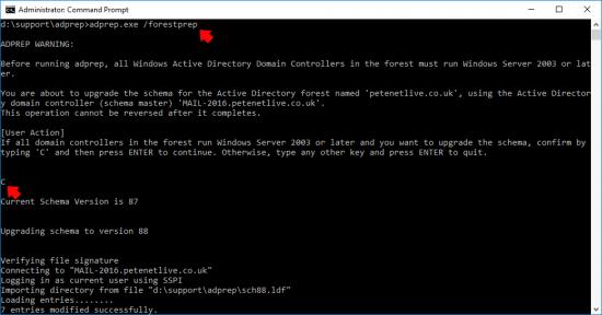 Upgrade to Windows 2019 adprep domain controller